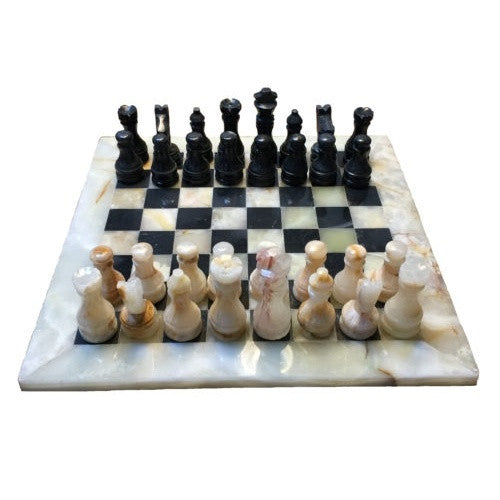 Chess - Cream/Black Marble Chess Set 8 Inch - Wood Expressions