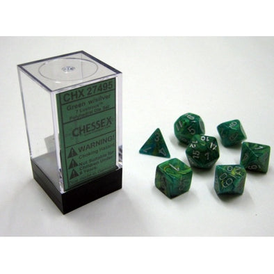 Dice Set - Chessex - 7 Piece - Lustrous - Green/Silver - 401 Games