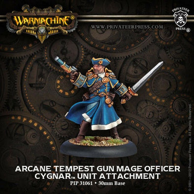 Buy Warmachine - Cygnar - Arcane Tempest Gun Mage Officer and more Great Tabletop Wargames Products at 401 Games