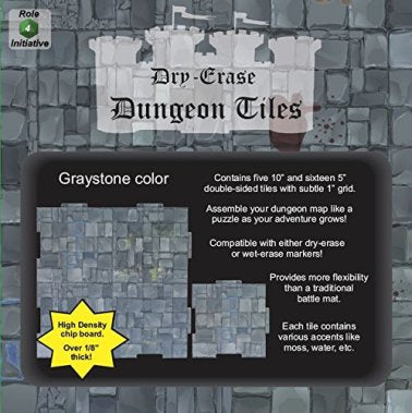 Dry Erase Dungeon Tiles - Greystone - 10'' and 5'' Interlocking Tiles