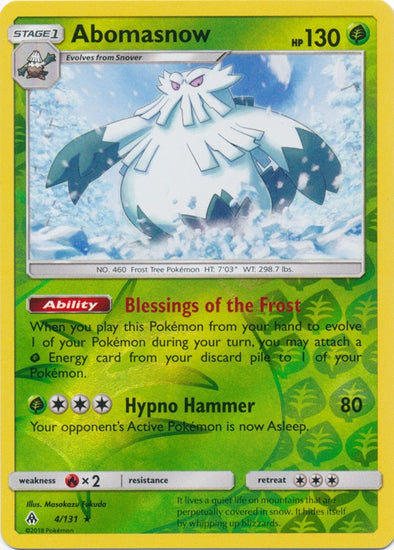 Buy Abomasnow - 4/131 - Reverse Foil and more Great Pokemon Products at 401 Games