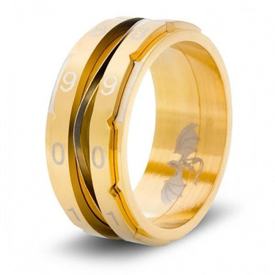 Level Counter Dice Ring - Size 15 - Gold