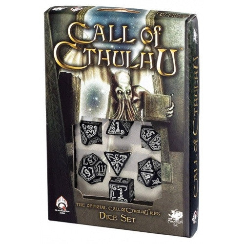 Dice Set - Q-Workshop - 7 Piece Set - Call of Cthulhu - Black Glow in the Dark - 401 Games