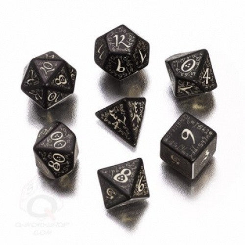Dice Set - Q-Workshop - 7 Piece Set - Elven - Black (Glow in the Dark) - 401 Games