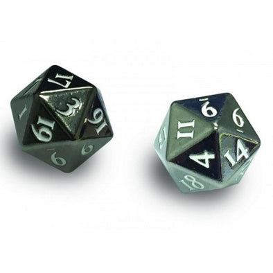 Ultra Pro - Dice Set - 2D20 - Heavy Metal 2 Piece Set - Gun Metal - 401 Games