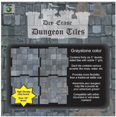 Dry Erase Dungeon Tiles - Greystone - 5'' Interlocking Tiles
