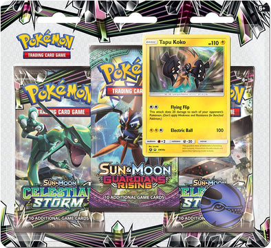 Buy Pokemon - Celestial Storm 3 Pack Blister Pack - Tapu Koko and more Great Pokemon Products at 401 Games