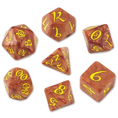 Dice Set - Q-Workshop - 7 Piece Set - Classic Elven - Caramel/Yellow - 401 Games