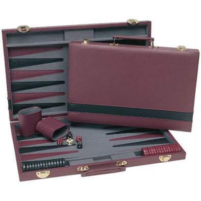 Backgammon - 15 Inch Burgundy Case - Wood Expressions