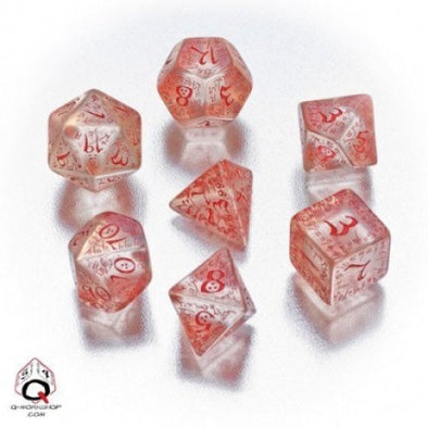 Dice Set - Q-Workshop - 7 Piece Set - Elven - Translucent Red - 401 Games