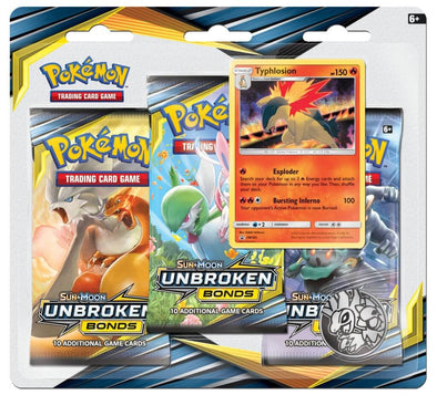Pokemon - Unbroken Bonds 3 Pack Blister - Typhlosion available at 401 Games Canada