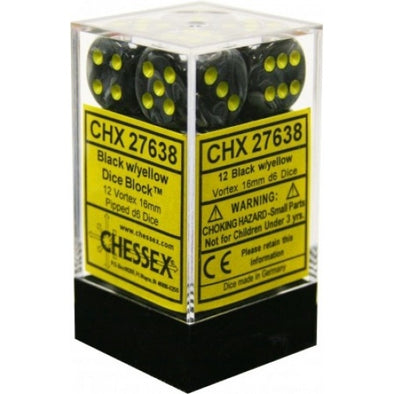 Dice Set - Chessex - 12D6 - Vortex - Black/Yellow - 401 Games