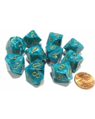 Chessex - 10D10 - Vortex - Teal/Gold