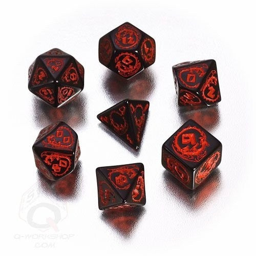 Buy Dice Set - Q-Workshop - 7 Piece Set - Dragons - Black and Red and more Great Dice Products at 401 Games