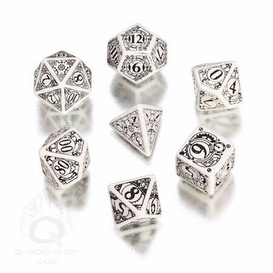 Buy Dice Set - Q-Workshop - 7 Piece Set - Steampunk - White/Black and more Great Dice Products at 401 Games