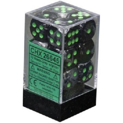 Dice Set - Chessex - 12D6 - Gemini - Black-Grey/Green - 401 Games