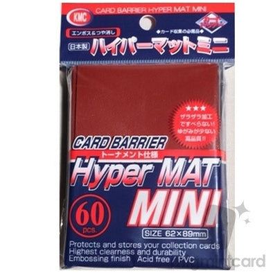 KMC Card Barrier - 60ct Small / Yu Gi Oh Hyper Mat Sleeves - Red - 401 Games