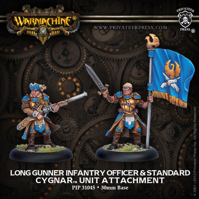 Buy Warmachine - Cygnar - Long Gunner Infantry Officer & Standard Bearer and more Great Tabletop Wargames Products at 401 Games