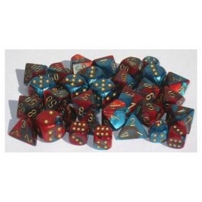 Dice Set - Chessex - 10D10 - Gemini - Red-Teal/Gold - 401 Games