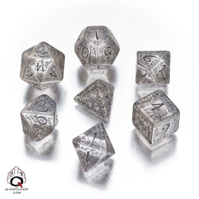 Buy Dice Set - Q-Workshop - 7 Piece Set - Elven - Translucent Black and more Great Dice Products at 401 Games