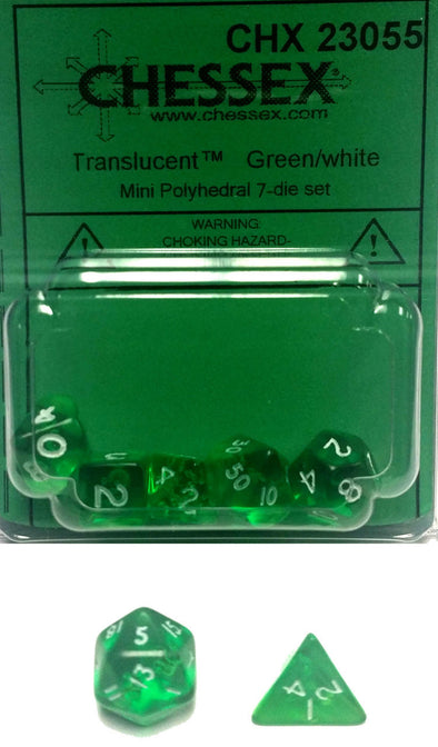 Chessex - Dice Set - 7-Die Mini Polyhedral - Translucent - Green/White - 401 Games