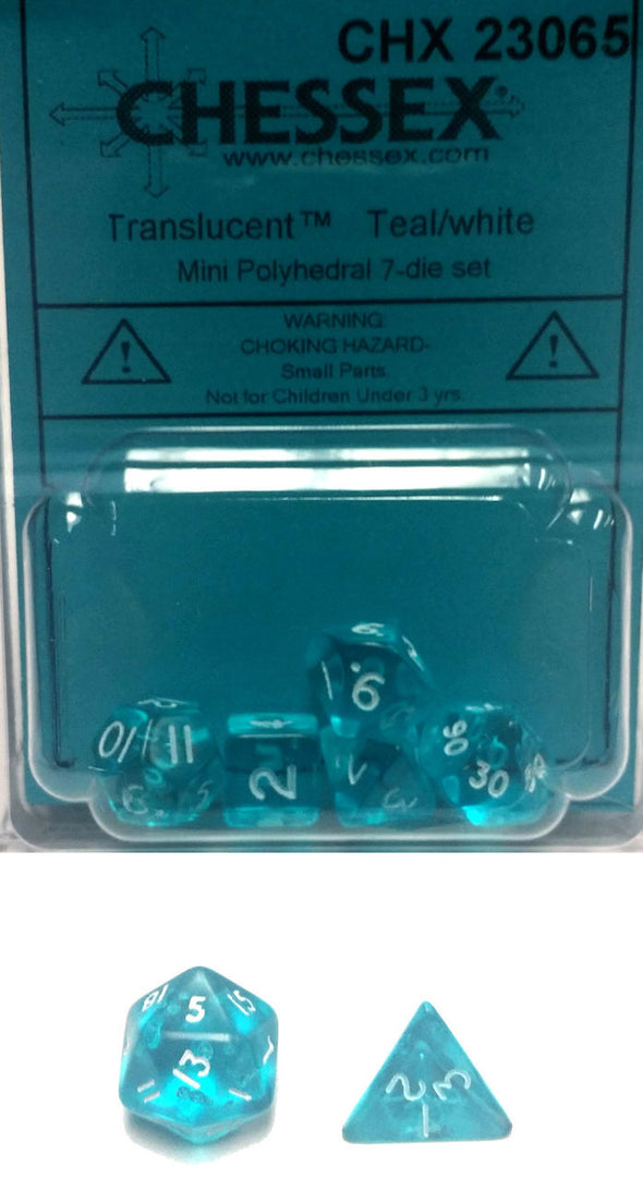 Chessex - 7-Die Mini Polyhedral - Translucent - Teal/White - 401 Games