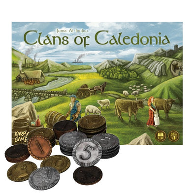 Board Game Bundle - Clans of Caledonia and Metal Coins - 401 Games