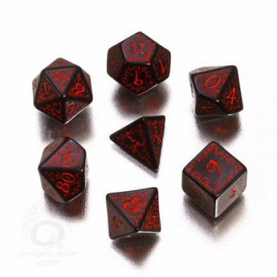 Buy Dice Set - Q-Workshop - 7 Piece Set - Elven - Black and Red and more Great Dice Products at 401 Games