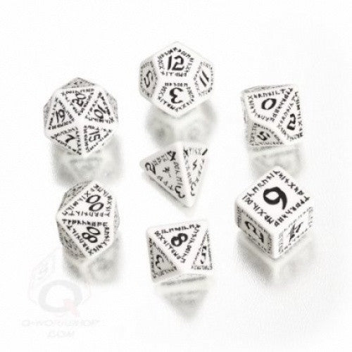Dice Set - Q-Workshop - 7 Piece Set - Runic White and Black - 401 Games