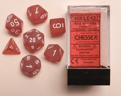 Chessex - 7 Piece - Frosted - Red/White