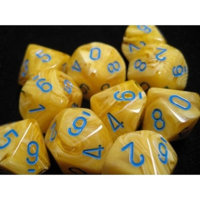 Dice Set - Chessex - 10D10 - Vortex - Yellow/Blue - 401 Games