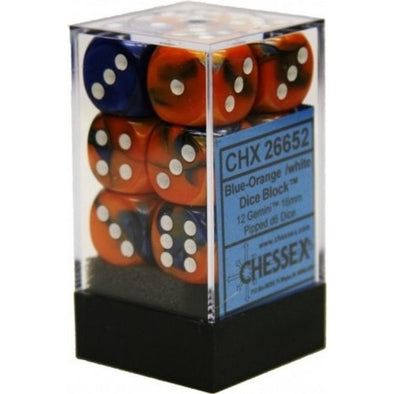 Dice Set - Chessex - 12D6 - Gemini - Blue-Orange/White - 401 Games