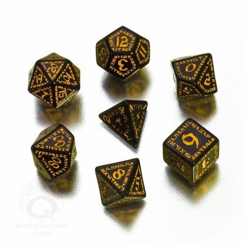 Dice Set - Q-Workshop - 7 Piece Set - Runic - Black and Yellow - 401 Games
