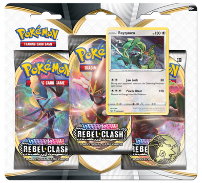 Pokemon - Rebel Clash 3 Pack Blister - Rayquaza - 401 Games