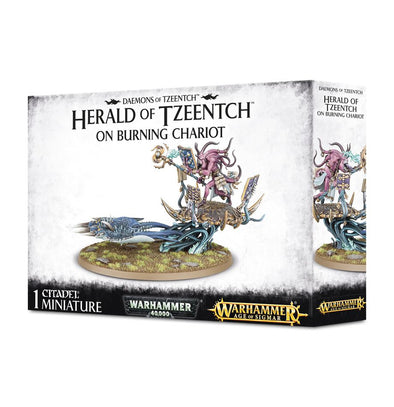 Buy Warhammer - Age of Sigmar - Daemons of Tzeentch - Herald of Tzeentch on Burning Chariot and more Great Games Workshop Products at 401 Games