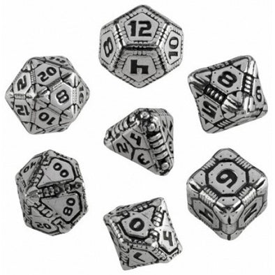 Dice Set - Q-Workshop - 7 Piece Set - Metal Dice - Tech - 401 Games