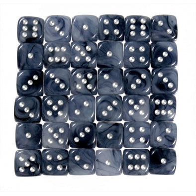 Buy Chessex - 36D6 - Phantom - Black/Silver and more Great Dice Products at 401 Games