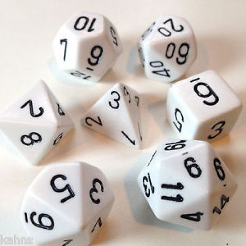 Dice Set - Chessex - 7 Piece - Opaque - White/Black - 401 Games
