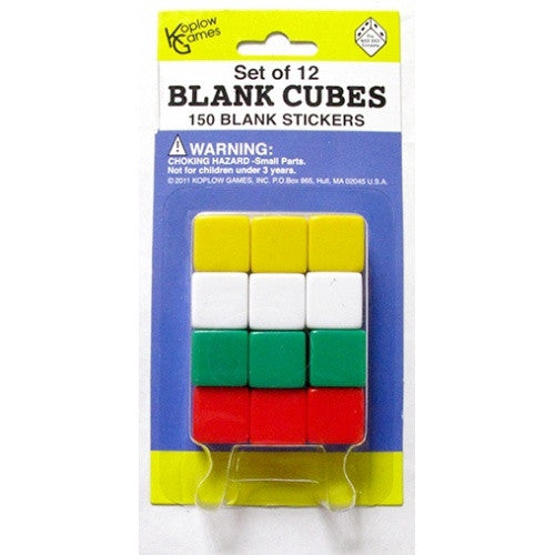 Buy Dice Set - Koplow - Blank Dice - 12D6 w/ 150 Blank Stickers and more Great Dice Products at 401 Games