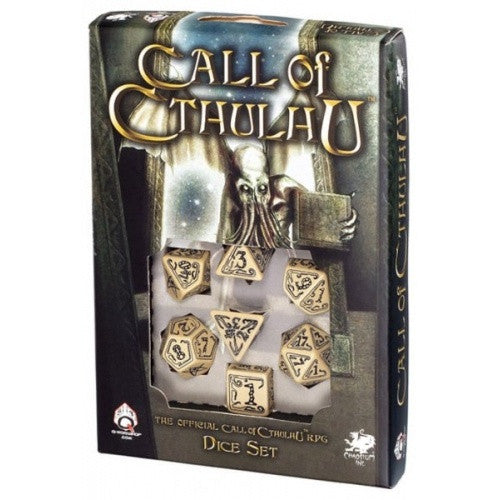 Dice Set - Q-Workshop - 7 Piece Set - Call of Cthulhu - Beige - 401 Games