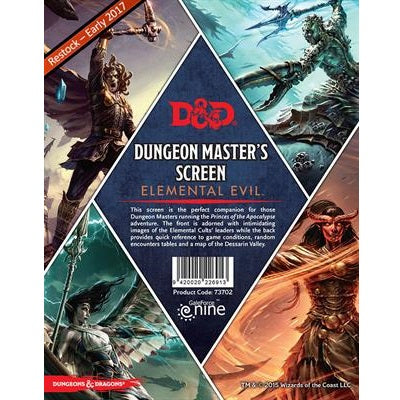 Buy Dungeons & Dragons - 5th Edition - Dungeon Master's Screen - Elemental Evil and more Great RPG Products at 401 Games
