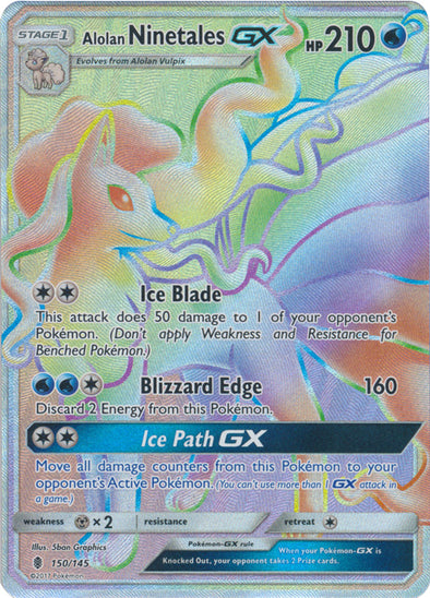Buy Alolan Ninetales-GX - 150/145 - Hyper Rare and more Great Pokemon Products at 401 Games