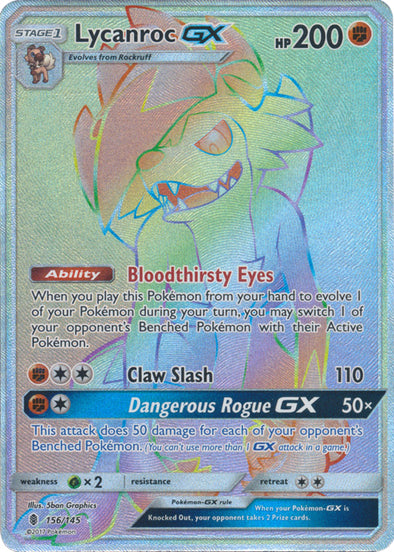 Buy Lycanroc-GX - 156/145 - Hyper Rare and more Great Pokemon Products at 401 Games