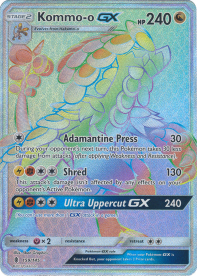 Buy Kommo-o-GX - 159/145 - Hyper Rare and more Great Pokemon Products at 401 Games