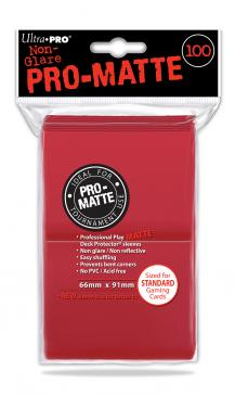 Ultra Pro - Standard Card Sleeves 100ct - Pro-Matte - Red - 401 Games