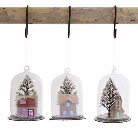 Vintage Paper House in Glass Cloche