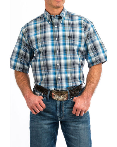 Cinch Men's Plaid Button Short Sleeve Western Shirt