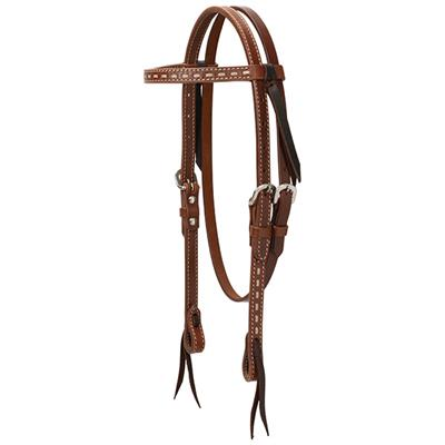 Turquoise Cross Rawhide Buckstitch Pony Contoured  Breast Collar
