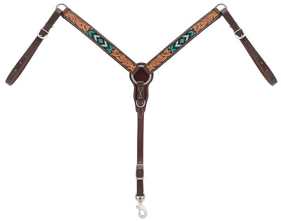 "Weaver Leather Turquoise Cross Turquoise Beaded 1-1/4"" Pony Breast Collar, Dark Oil"
