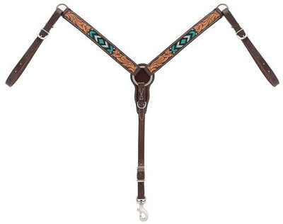 "Weaver Leather Turquoise Cross Turquoise Beaded 5/8"" Pony Brow Band Headstall, Dark Oil"